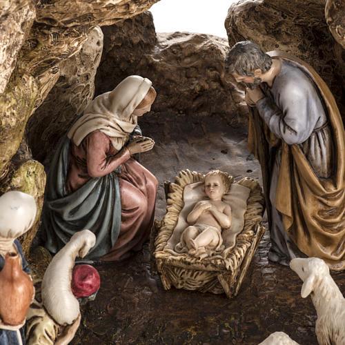 Landi Nativity set with grotto 11cm 2