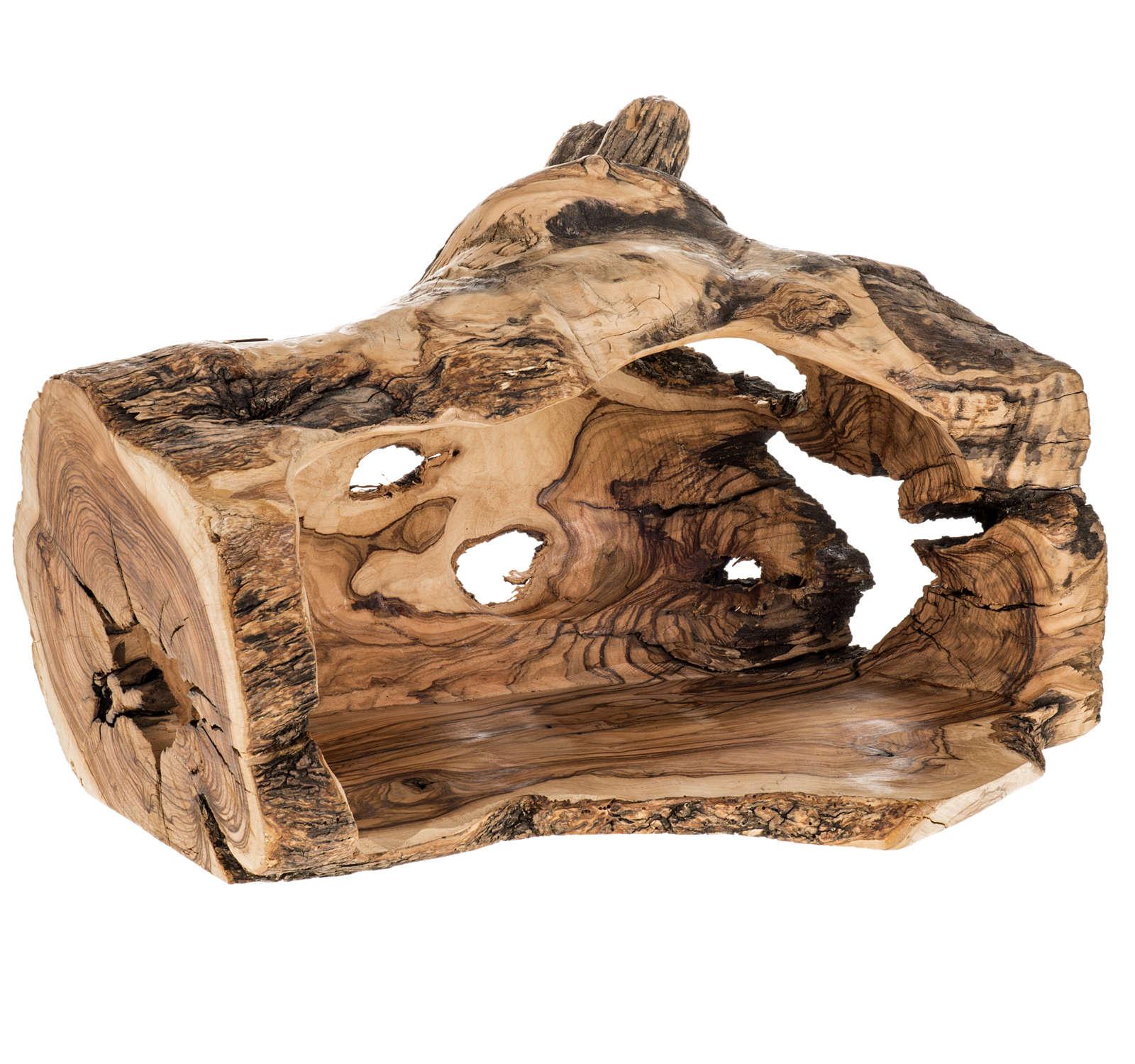 Crèche complète et étable bois d'olivier Terre Sainte 14cm 4