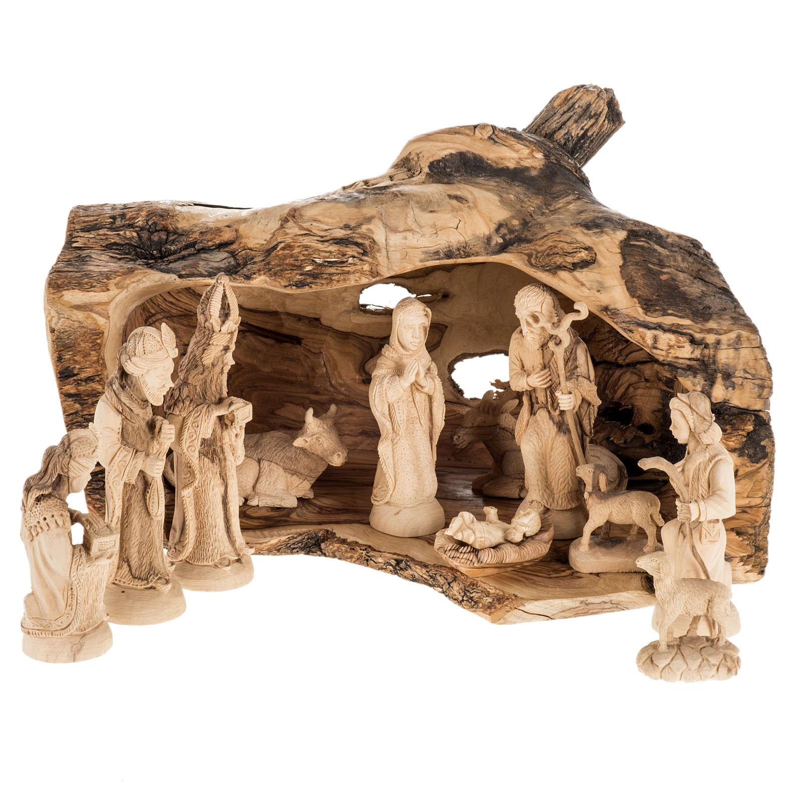 Presepe completo legno olivo Betlemme 14 cm con grotta 4
