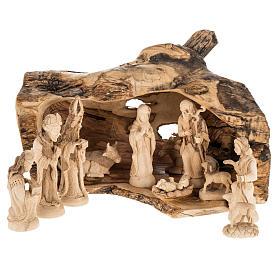 Presepe completo legno olivo Betlemme 14 cm con grotta s1