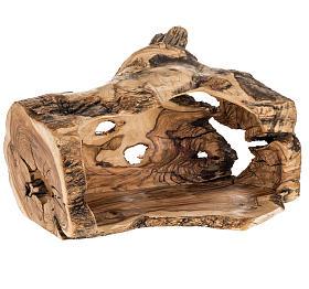 Presepe completo legno olivo Betlemme 14 cm con grotta s10