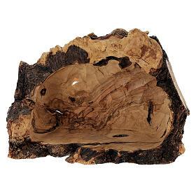 Presepe completo legno olivo Betlemme 14 cm con grotta s8