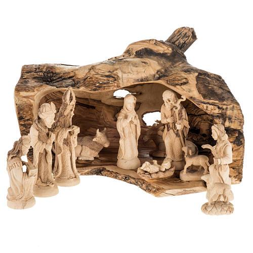 Presepe completo legno olivo Betlemme 14 cm con grotta 1