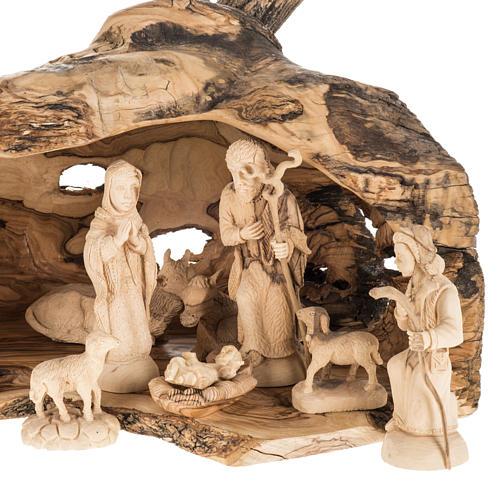 Presepe completo legno olivo Betlemme 14 cm con grotta 2