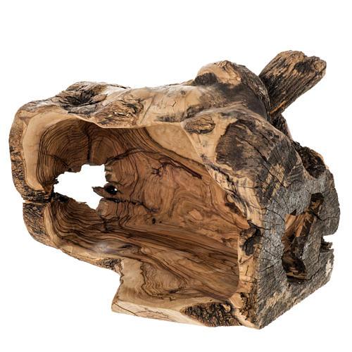 Presepe completo legno olivo Betlemme 14 cm con grotta 11