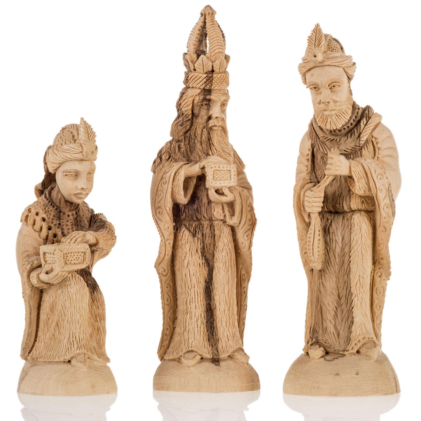 Szopka komplet z grotą 14 cm drewno oliwne Betlejem 4