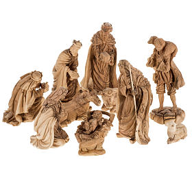 Presepe completo legno olivo Betlemme 30 cm s1