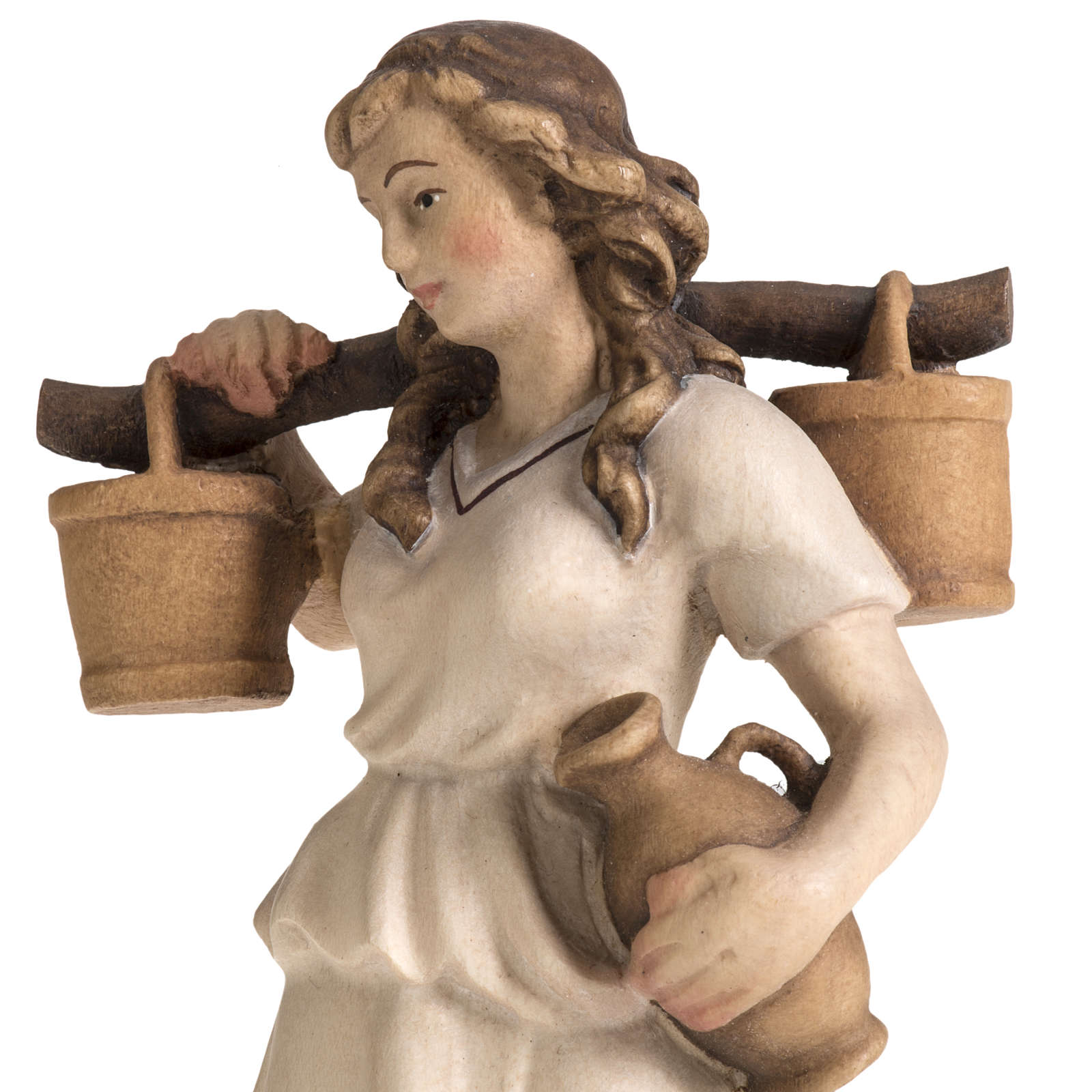 Shepherdess with amphora for Raffaello nativity in painted wood, 4