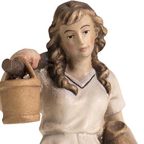 Shepherdess with amphora for Raffaello nativity in painted wood, s4