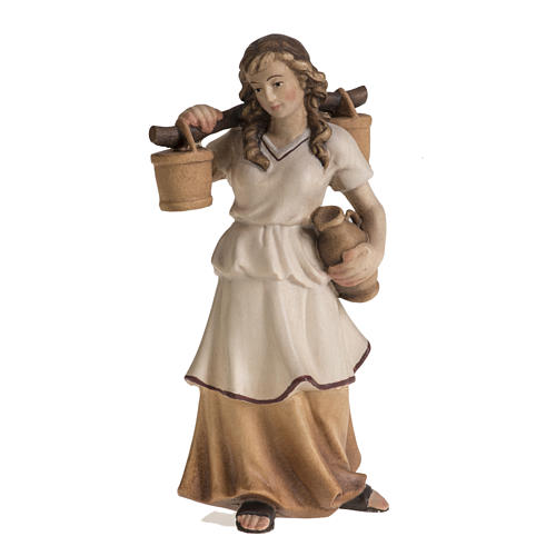 Shepherdess with amphora for Raffaello nativity in painted wood, 1