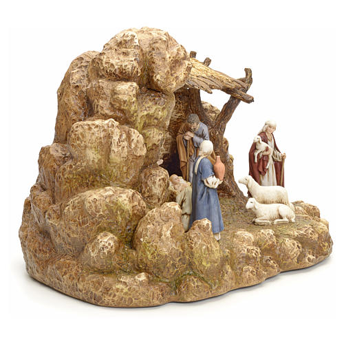 Nativity scene with stable by Landi, 11cm 11