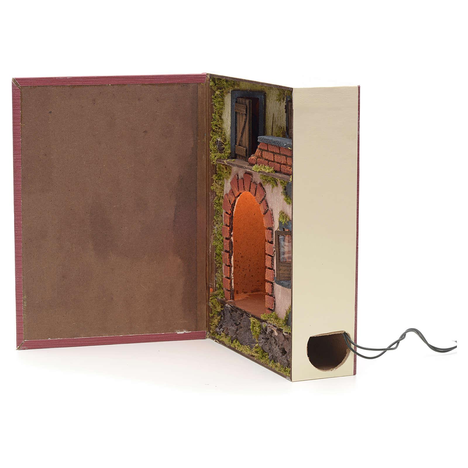 Borgo illuminato con grotta rialzata in libro 30x24x8 cm 4