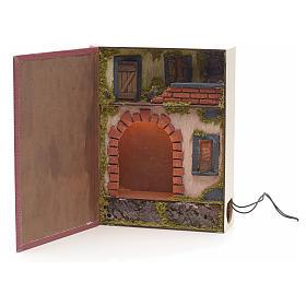 Borgo illuminato con grotta rialzata in libro 30x24x8 cm s1