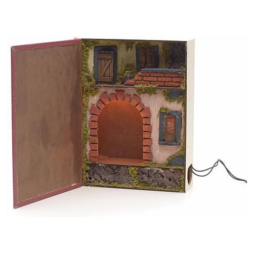 Borgo illuminato con grotta rialzata in libro 30x24x8 cm 1
