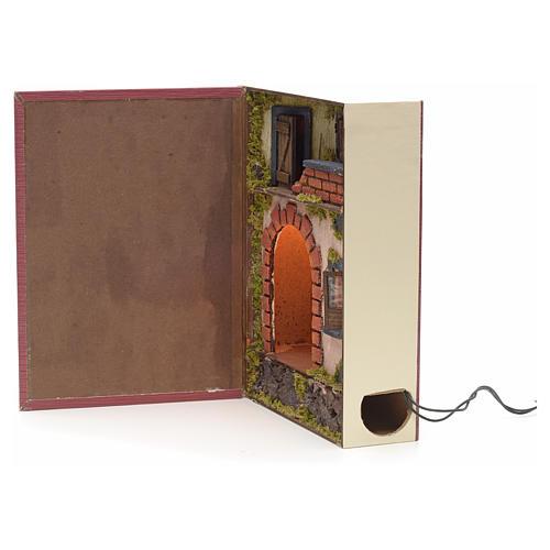 Borgo illuminato con grotta rialzata in libro 30x24x8 cm 2