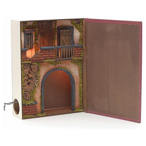 Borgo illuminato con balcone e grotta in libro 30x24x8 cm 1
