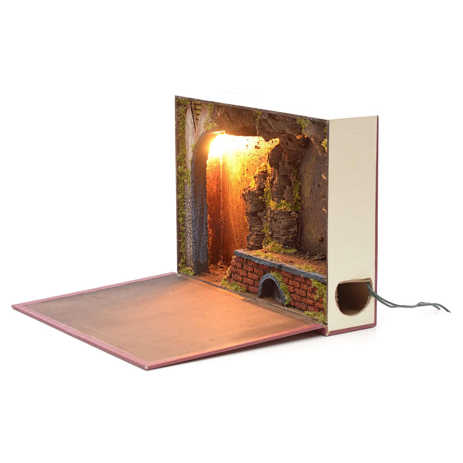 Grotta illuminata per presepe in libro 24x30x8 cm 4