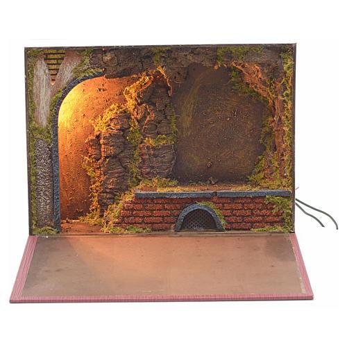 Grotta illuminata per presepe in libro 24x30x8 cm 1