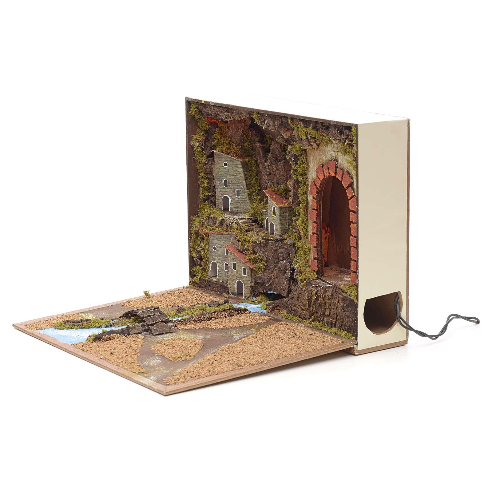 Borgo illuminato grotta e fiume in libro 24x30x8 cm 4