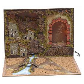 Borgo illuminato grotta e fiume in libro 24x30x8 cm s1