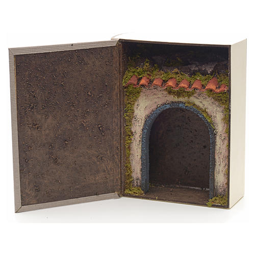 Grotta illuminata per presepe in libro dim. 24x19x8 cm 1