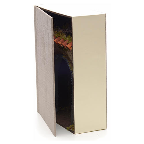 Grotta illuminata per presepe in libro dim. 24x19x8 cm 3
