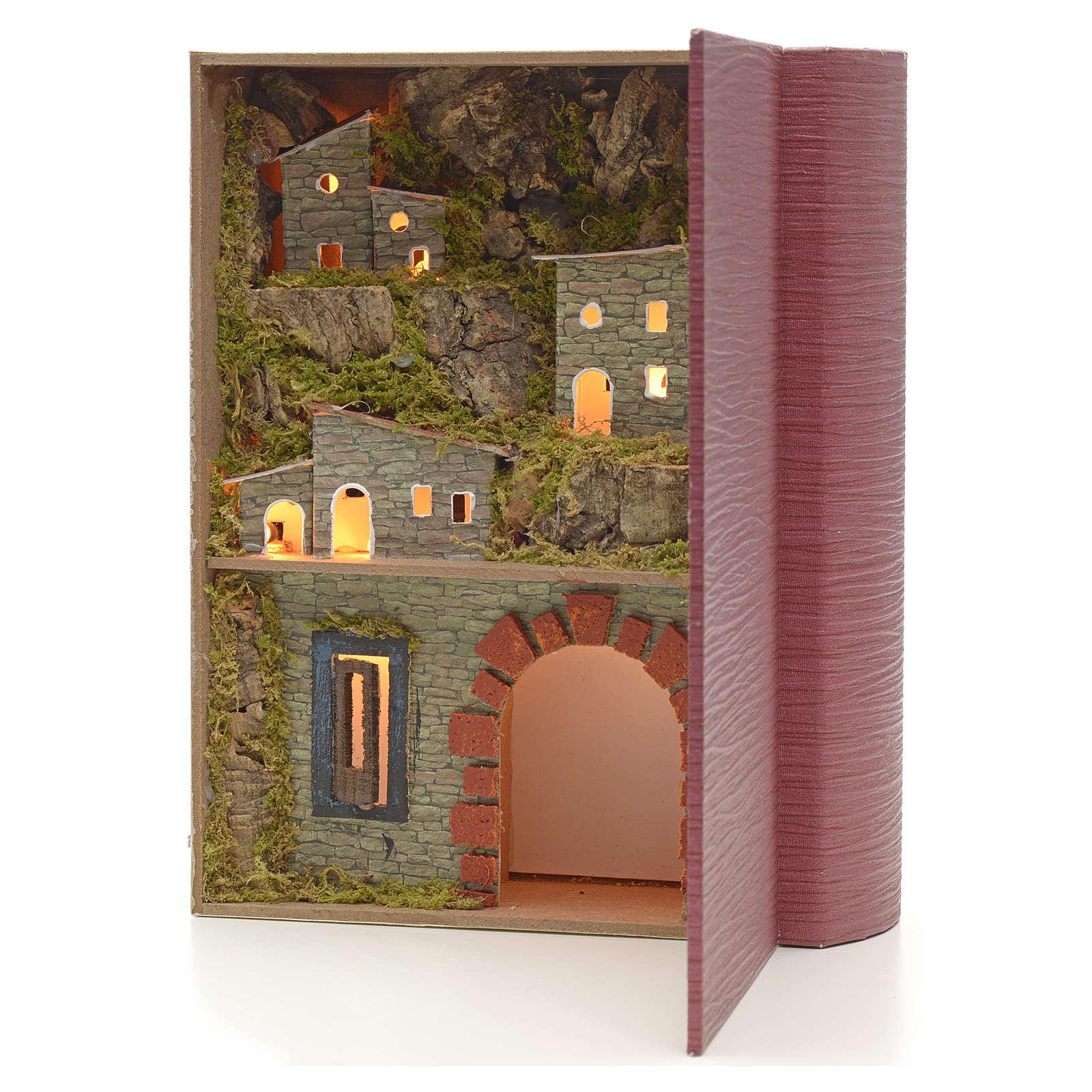 Décor crèche bourg et grotte éclairés en livre 19x24x8 4