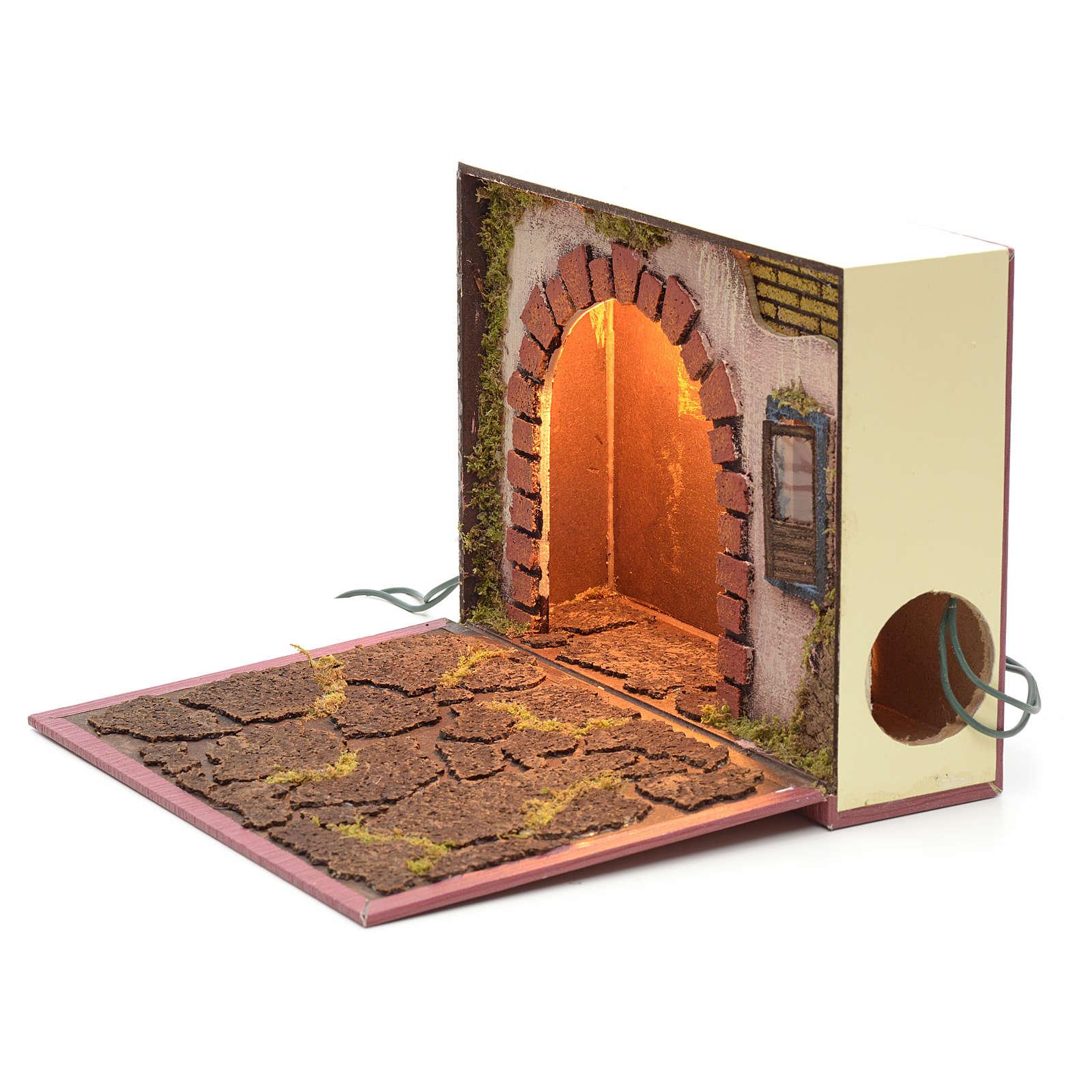 Arco illuminato per presepe in libro 19x24x8 cm 4