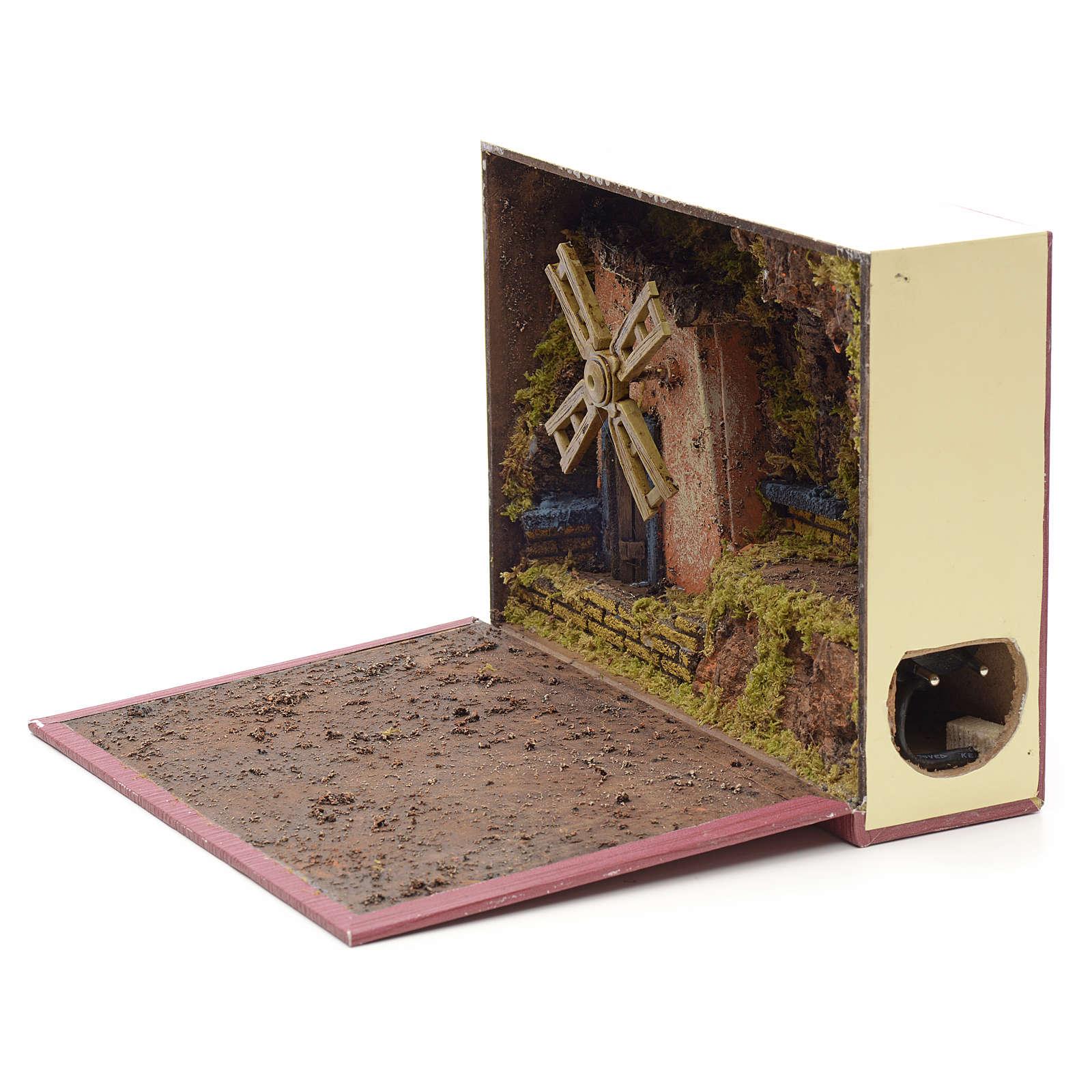 Mulino a vento elettrico per presepe in libro 19x24x8 4