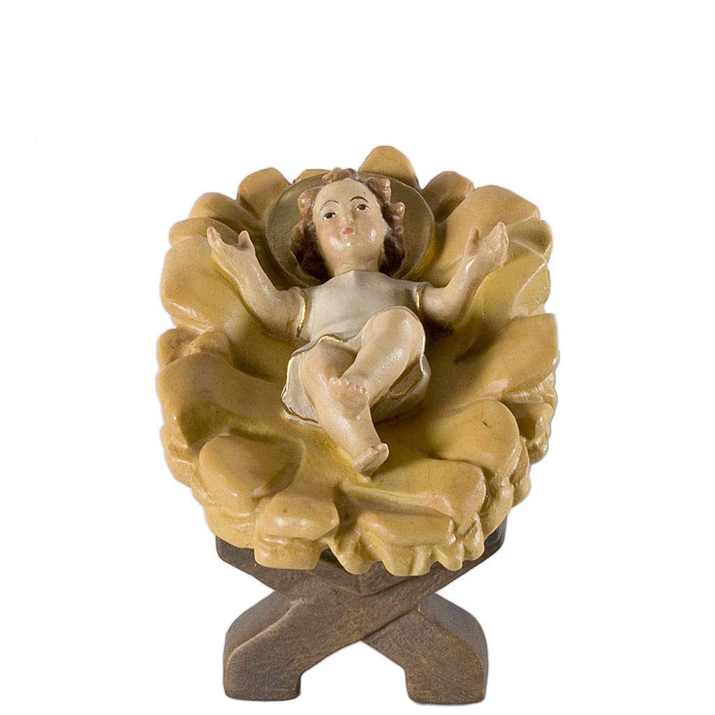 Niño Jesús con cuna 12 cm madera pesebre mod. Valg 4