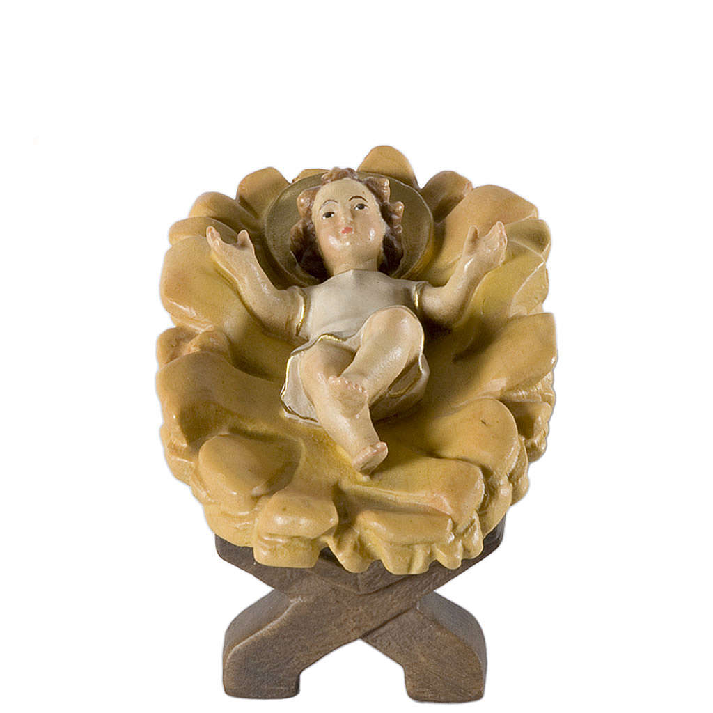 Enfant Jésus dans sa mangeoire pour crèche bois peint Val Garden 4