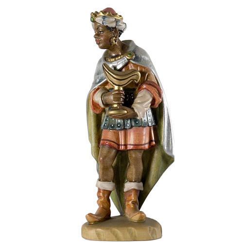 Re Magio moro 12 cm legno presepe mod. Valgardena 1