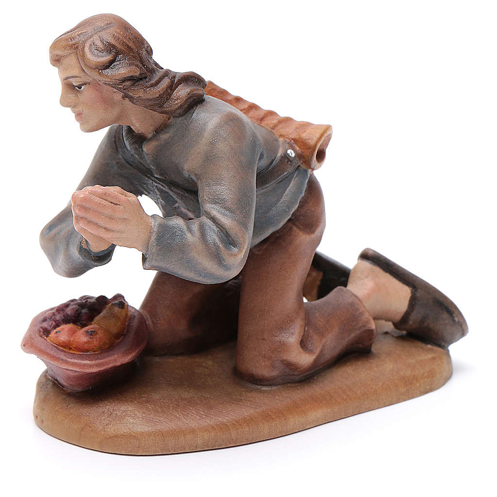 Campesino en rodillas 12 cm madera pesebre mod. Valgardena 4