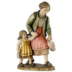 Belén Val Gardena: Pastora con niña 12 cm madera pesebre mod. Valgardena