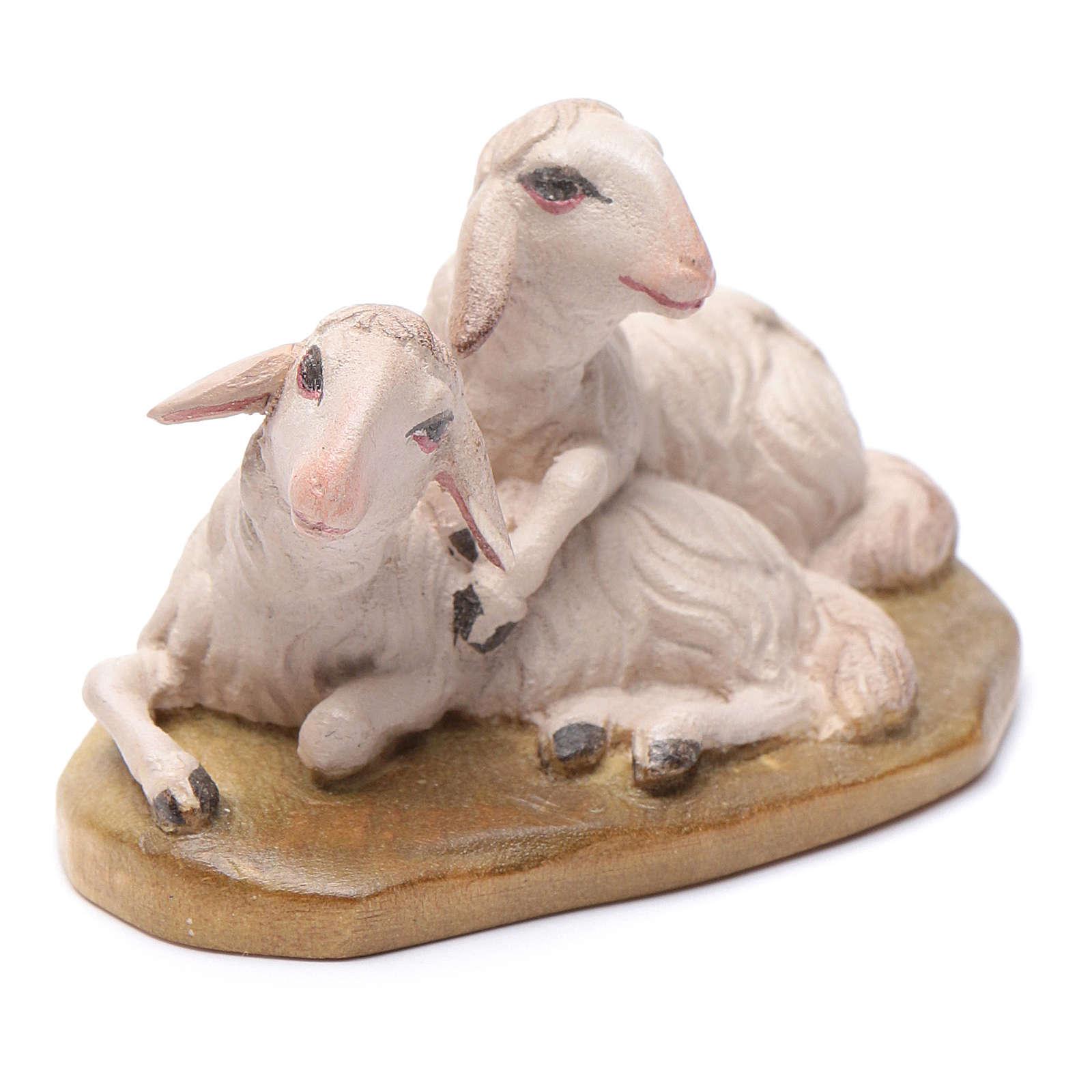 Moutons couchés 12 cm bois crèche Val Gardena 4