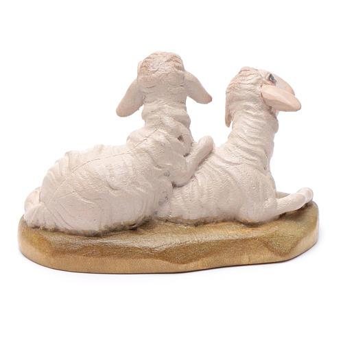 Moutons couchés 12 cm bois crèche Val Gardena 2