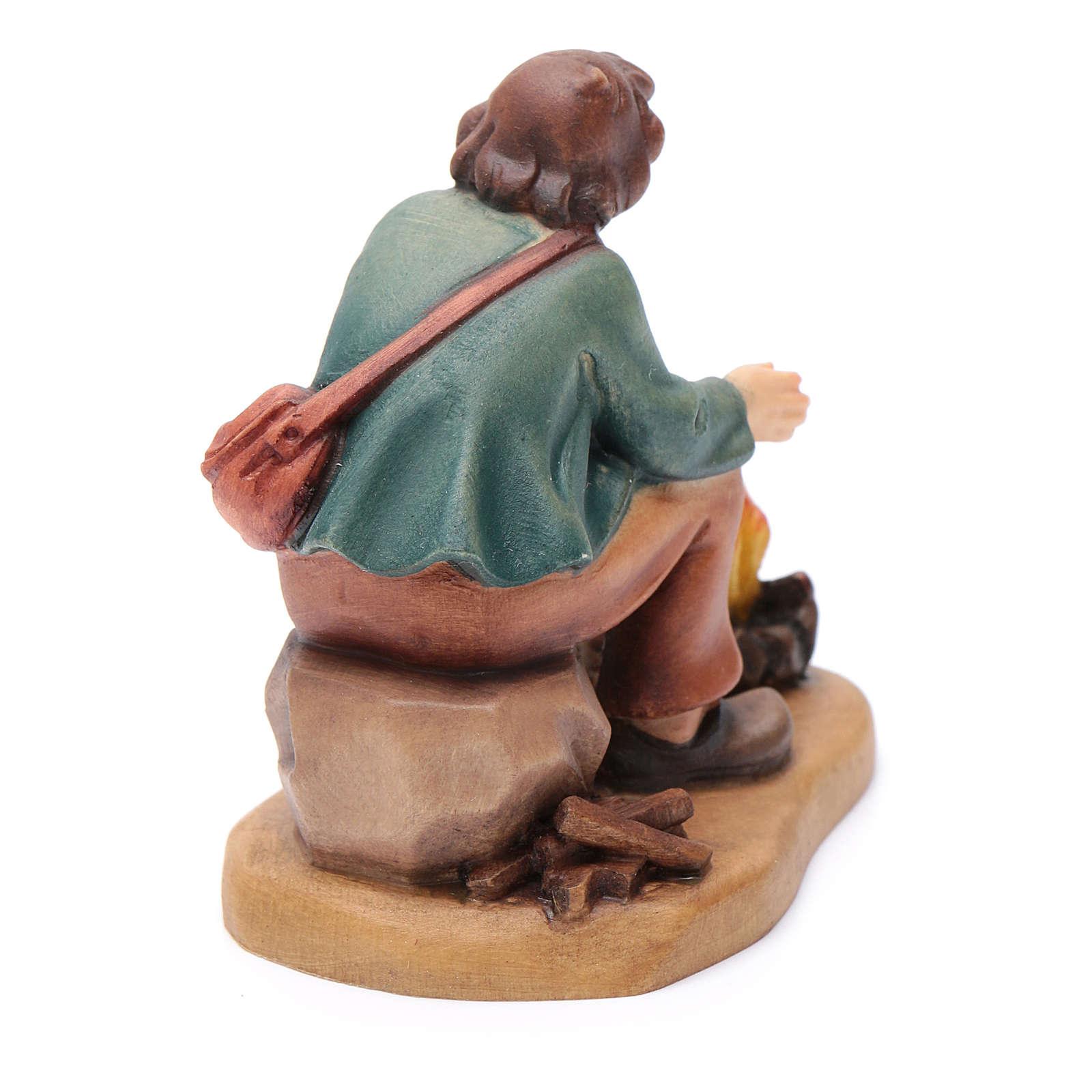 Pasteur devant feu 12 cm bois peint crèche Val Gardena 4