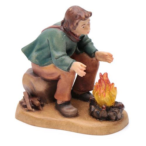 Pasteur devant feu 12 cm bois peint crèche Val Gardena 3