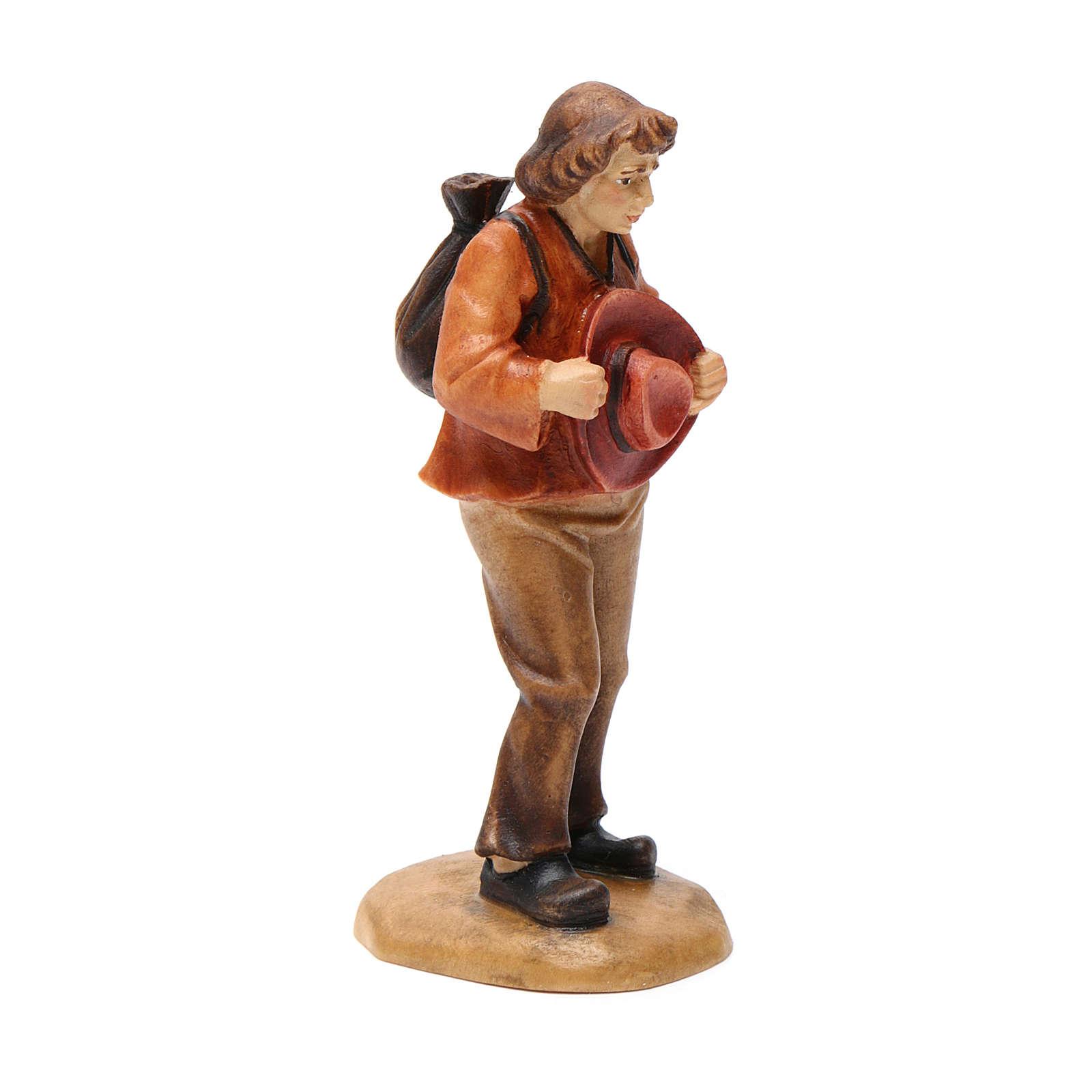 Pastore con cappello 12 cm legno presepe mod. Valgardena 4