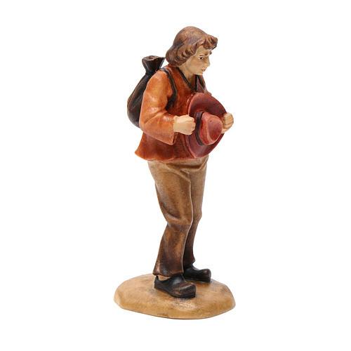 Pastore con cappello 12 cm legno presepe mod. Valgardena 2