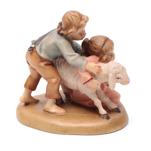 Pastorelli con pecore 12 cm legno presepe mod. Valgardena 3