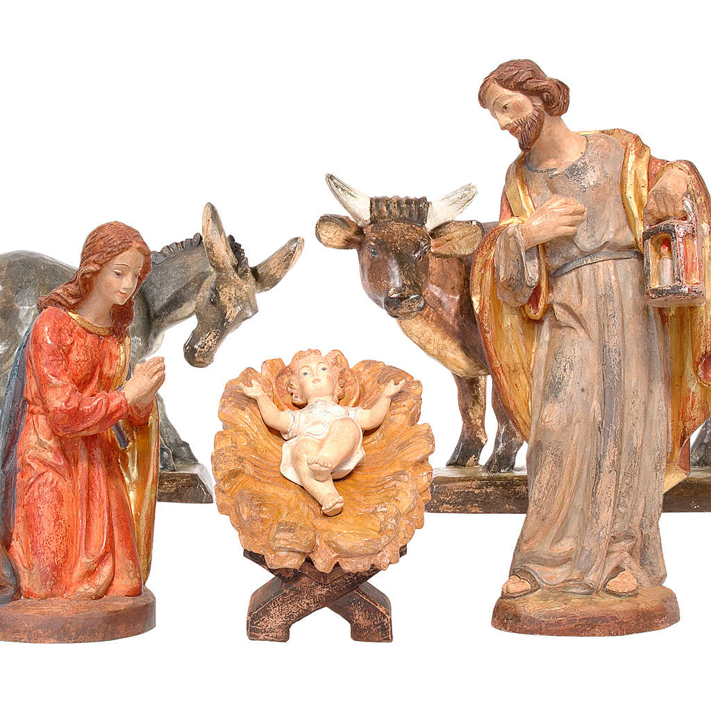 Natività con asino e bue presepe Valgardena Old Antico Gold 4