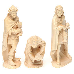 Belén Val Gardena: Tres Reyes Magos de madera de la Valgardena encerada