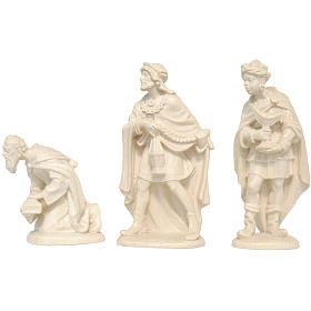 Trois Rois Mages crèche Valgardena bois naturel ciré s1
