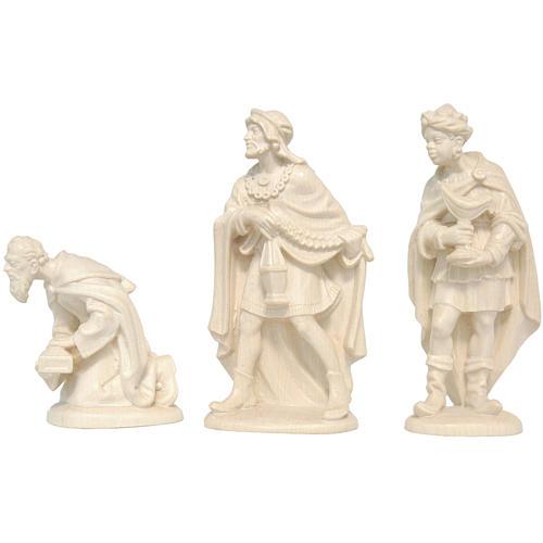 Trois Rois Mages crèche Valgardena bois naturel ciré 1