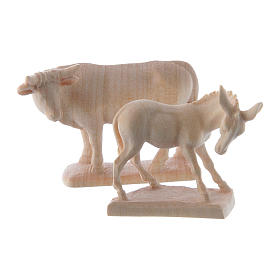 Ox and donkey for nativities in Valgardena wood, natural wax s1