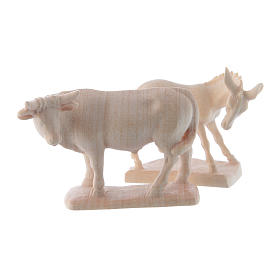 Ox and donkey for nativities in Valgardena wood, natural wax s2
