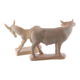 Ox and donkey for nativities in Valgardena wood, natural wax s5
