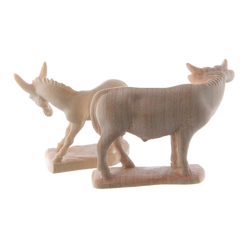 Ox and donkey for nativities in Valgardena wood, natural wax 5