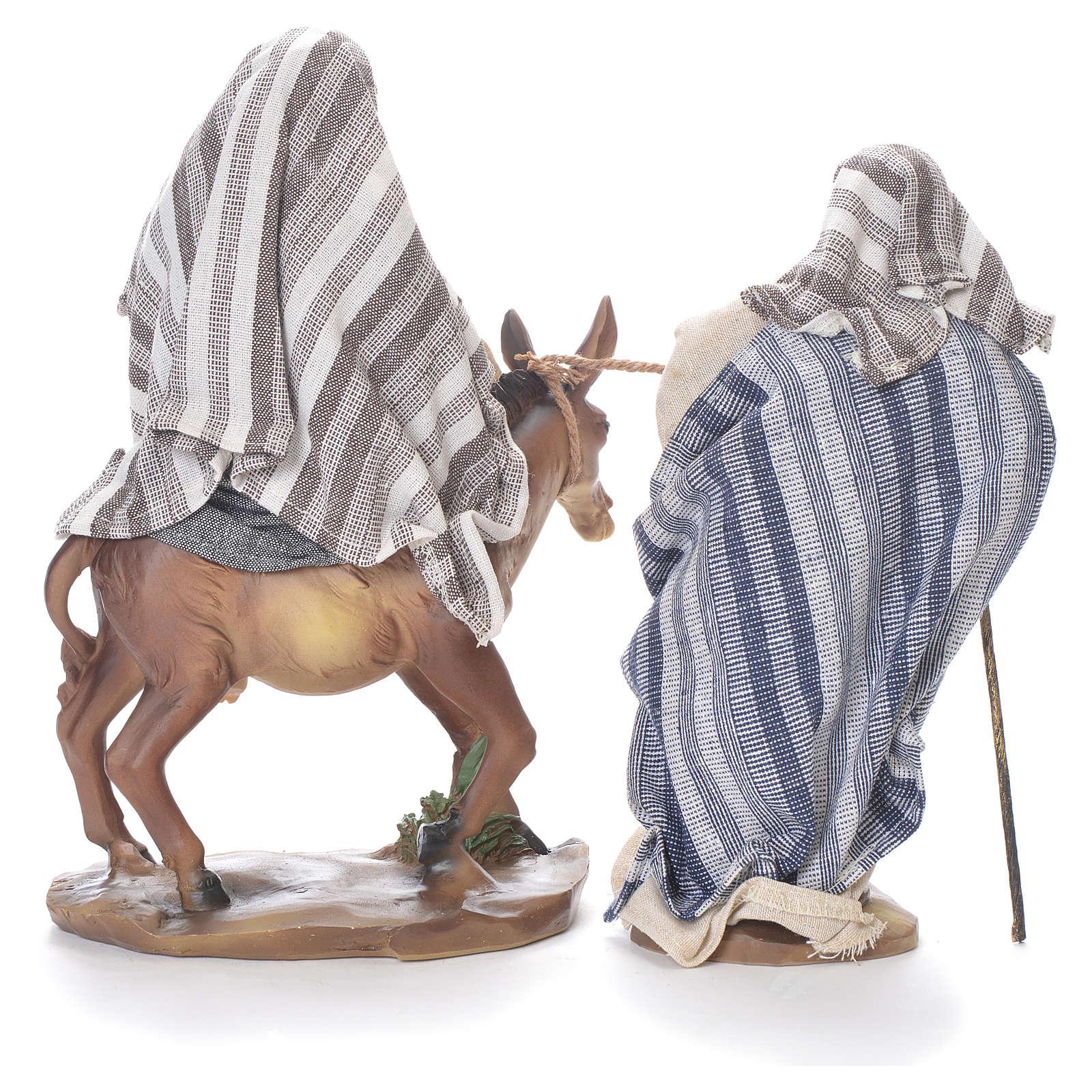 Fuga dall'Egitto 24 cm resina stoffa grigio beige 4